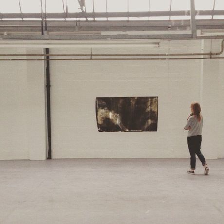 Caroline Abbotts testing how her work is in the exhibition space