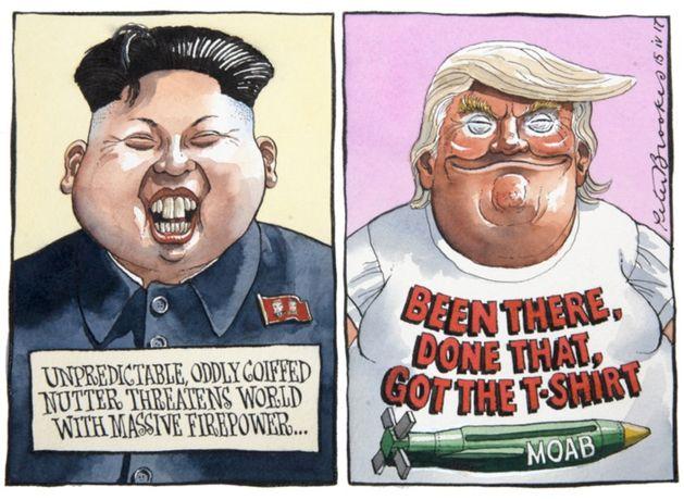 Unpredictable, Oddly Coiffed Nutter Threatens World With Massive Firepower...by Peter Brookes