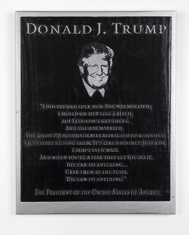 Marilyn Minter, Silver Trump Plaque, courtesy of the artist & Salon 94/Regen Projects