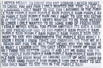 Matthew Heller, Homage to Music: Purple Rain, acrylic on canvas 40 x 60 inches