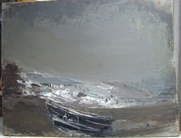 Joan Eardley, Grey Seascape with Black Boat