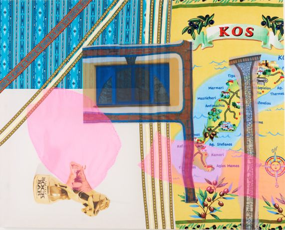 Booze painting (Kos), 2018, John Walter, Appliqué on cotton with organza, digital print and trimmings 132 x 165 x 4cm