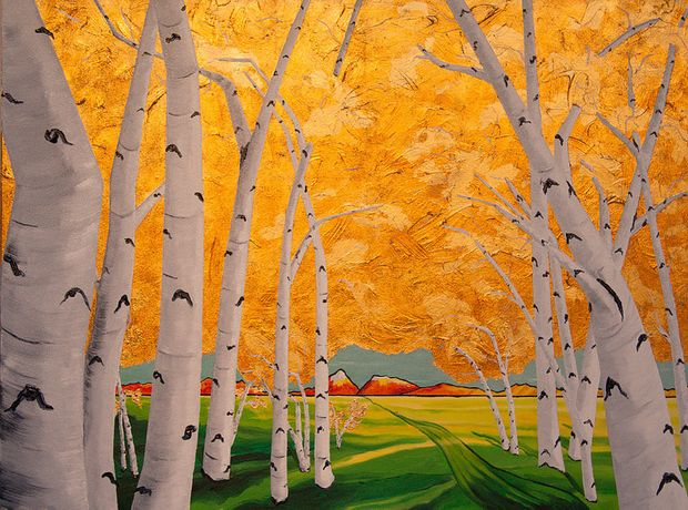 JOHN PETERS, Autumn Trail, Gold and Metal Leaf and Oil on Canvas, 30 x 40