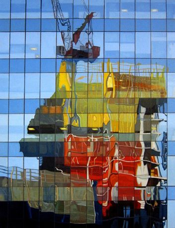 Image: Sharon Florin, LIC Jackson Avenue Reflections, 2017, oil on canvas, 24 x 18 inches © Sharon Florin