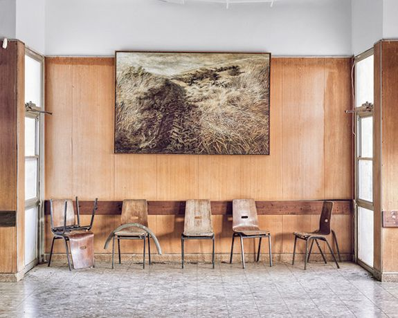 Roei Greenberg, Landscape Painting On Wall, Dining Hall, Kibbutz Yiftach, 2015 © Roei Greenberg