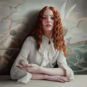 Mary Jane Ansell  Naissance II  Oil on Aluminium Panel 22 x 22 inches