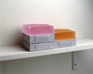 Rachel Whiteread Step, 2007 - 2008 Plaster, pigment, resin, wood and metal (five units, one shelf) Old Dims: 5 1/2 x 15 11/16 x 7 7/8 inches / 14 x 40 x 20 cm © Rachel Whiteread. Courtesy the artist and Gagosian. Photo credit: Mike Bruce