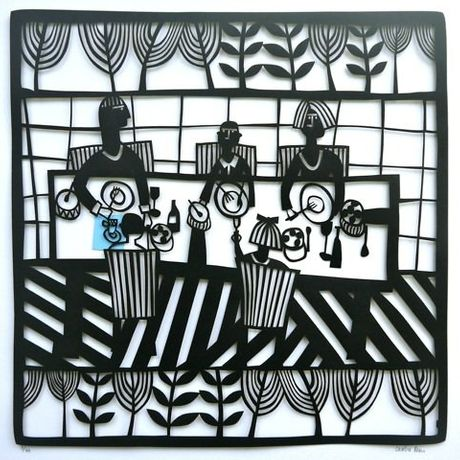 Lunch Caroline Rees 50 x 50 cm limited edition paper cut