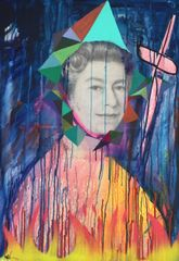 Woozy Elizabeth Mixed media on canvas 120 x 86 cm