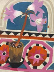 Mary Fedden 'Pink Lily' Signed and dated, 1991 Oil on board 41.6 x 32.1 cm Copyright, Richard Green Gallery, London