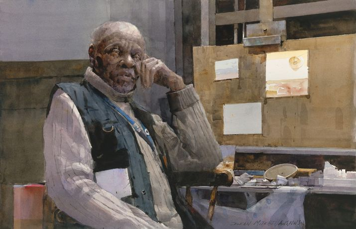 Artist at Work by Dean L. Mitchell, watercolor, 14x21