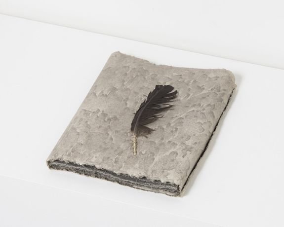 Michelle Stuart, Wind Book, 1978 Earth and feather from site in Tikal Guatemala, muslin-mounted rag paper 33 x 25.4 x 3.8 cm, 13 x 10 x 1 1/2 ins © Michelle Stuart