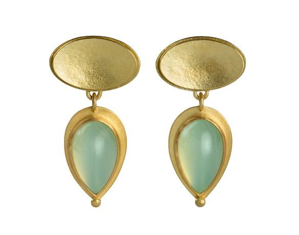 Jean Scott-Moncrieff Gold earrings with Aqua Cabachons