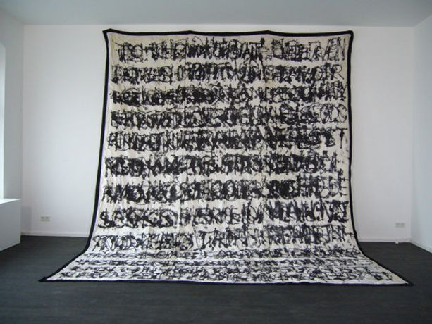 "'Three Texts', 2009, Ink on velvet 201"" x 152"" (512 x 400 cms)"