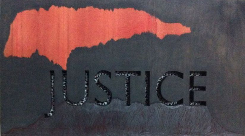 "'Justice', 2014, Mixed Media on board, 36"" x 20"" (91.5 x 51.7 cms)"