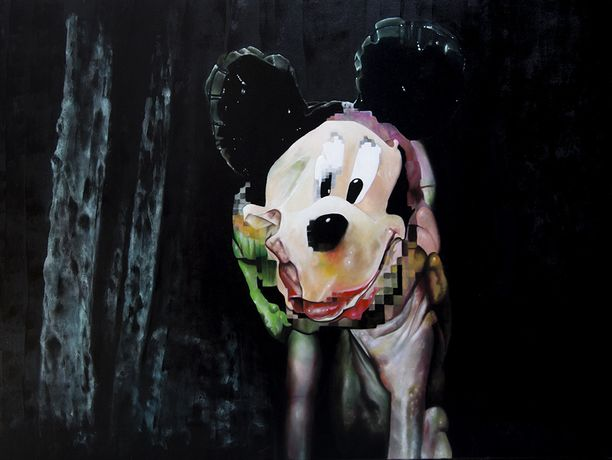 Pixelated Mickey, oil on canvas, 120 x 90 cm