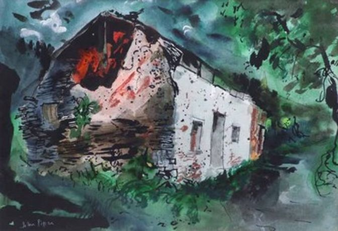 John Piper 'Ruined Cottage' Mixed media on paper