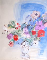 RAOUL DUFY (1877-1953) 'Le Vase aux Anemones', 1937, gouache and watercolour on paper, signed 'Raoul Dufy' (lower left), 24 x 19 inches
