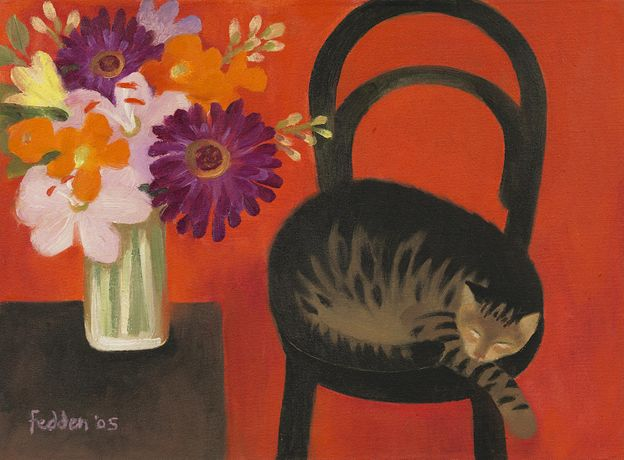 Mary Fedden (Bristol 1915 - 2012 London), 'Cat and flowers', Oil on canvas laid down on board, 11 1/2 x 15 3/4 in / 29.2 x 40 cm