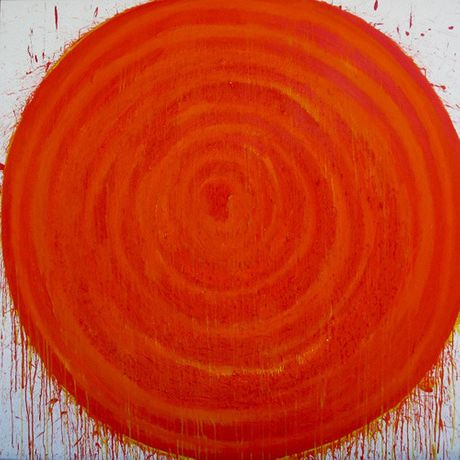 "DANIEL HERCE  Red 2015  78 3/4"" x 78 3/4"" (200 x 200 cm) acrylic on canvas"