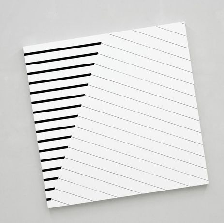 François Morellet Confrontation n°1 (2015) Pencil and acrylic on canvas on wood 174 x 174 cm (panel 150 x 150 cm) (ref:Fm0087)