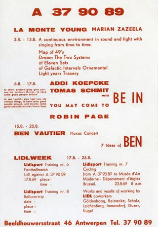 Program poster from the project space A 37 90 89, 1969, archive Florian Waldvogel