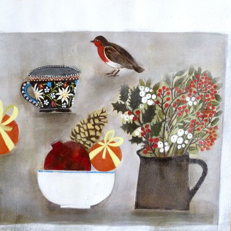 'Felted Robin, Pomegranate & Winter Berries' by Amy Rose Clyfan. 2015. © The Artist