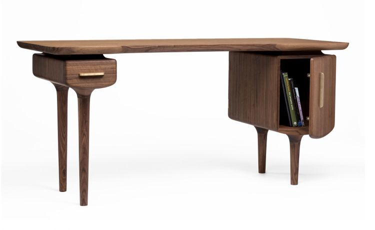 C Desk. 64L x 26W x 20H Solid Walnut, Solid Brass  Oil finish