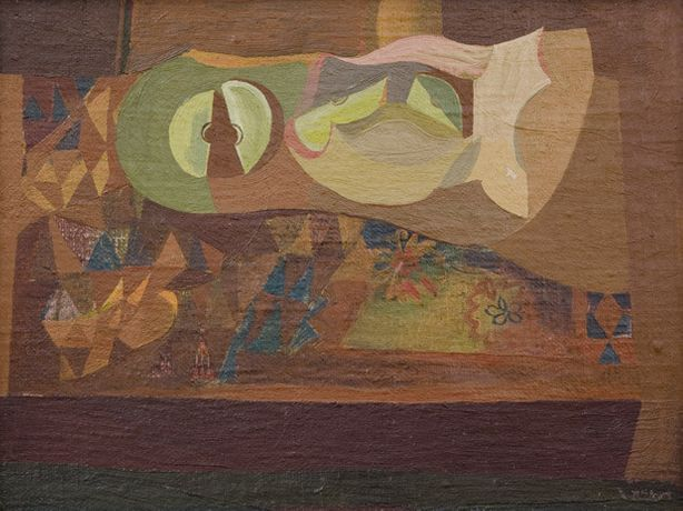 Robert Macbryde, Apples on Paper, 1940's, Oil on board, Pallant House Gallery (Kearley Bequest through The Art Fund, 1989)