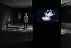 Ergin Çavuşoğlu, Silent Systems, 2011, Vinyl, HD camera, HD Monitor, wall bracket, 900 x 400 cm floor section, 400 x 130 wall section. Installation view, RAMPA Gallery, Istanbul, 2011