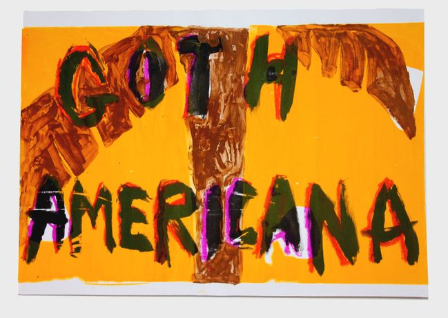 'Goth Americana', screenprint, crayon and chocolate on paper