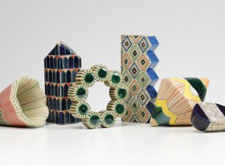 Frances Priest, 'Grammar of Ornament | India' (detail), collection of 16 ceramic forms, 2014. © the artist. Photography Shannon Tofts
