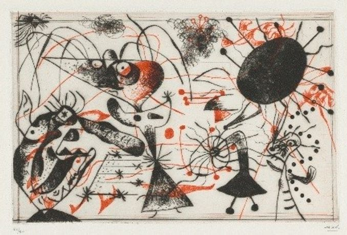 "Joan Miró. Plate 6 from the ""Black and Red Series."" 1938. The Baltimore Museum of Art, BMA 2017.41 © Successió Miró / Artist Rights Society (ARS) New York / ADAGP, Paris"