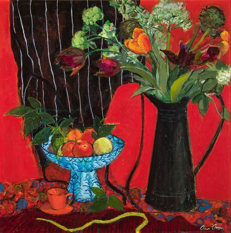 Kitchen Still LIfe on Red Ground | ANN ORAM