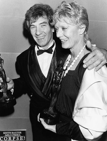 Sir Ian Mckellen and Vanessa Redgrave celebrate winning an award at what was to become known as 'The Oliviers' in the 1970s.