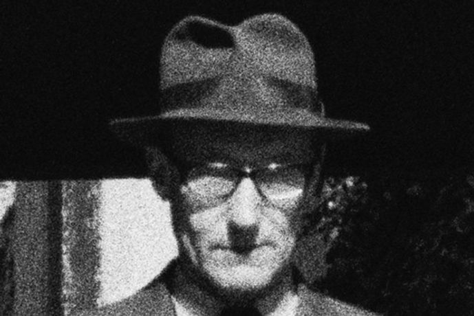Harriet Crowder, Man Standing at Bethel Square, Lion Street, Brecon, Wales (William S. Burroughs, 1960) (detail), image size: 1030 x 1030 mm, sheet size: 1100 x 1105 mm, edition of 7 + 3 artist's proofs, produced 2015