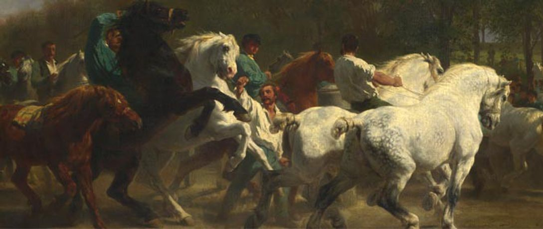 Detail from Rosa Bonheur and Nathalie Micas, The Horse Fair, 1855