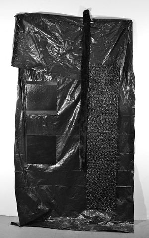 Dominique Duroseau, Settlement boundaries, considered (2019), [Black on Black on Black with Black series], Faux fur coat, tarp, vinyl floor tiles, bubble wrap, cotton thread , 53 x 96 in