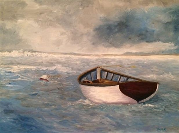 Lisa Froment. Dory Adrift. Oil on Panel 18 x 24 x 1.5