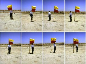 Mohammed Kazem, 'Photographs with a Flag' (1997). Courtesy of Gallery Isabelle van den Eynde and the artist.