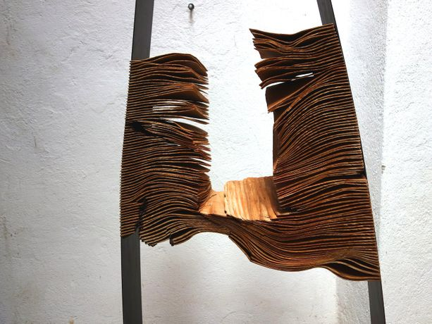 Herbert Golser, Twin (detail) , 2014-15, pear wood, steel, 73x30x171cm