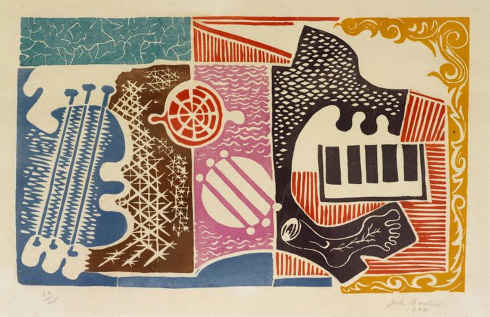 John Banting, One Man Band, 1934, Linocut