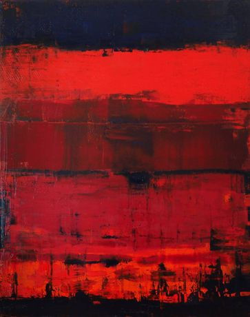 Catherine Timotei, Reflection on Red,Oil on Canvas, 60'' x 48''