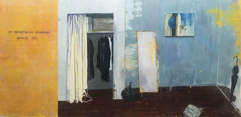 Zhang Chunhua, A Room in Brooklyn, 2019, oil on canvas, tetraptych, overall: 78.7 x 157.5 inches (200 x 400 cm)