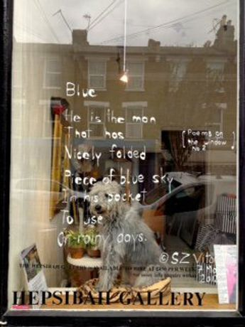 POETRY in the window at THE HEPSIBAH GALLERY