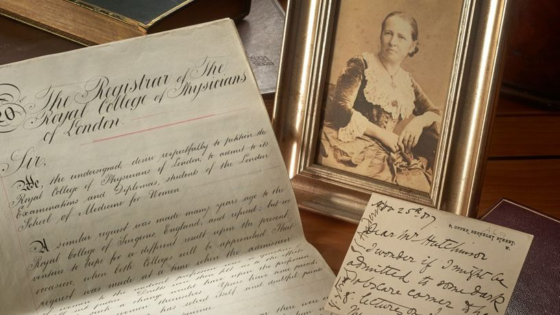 Photograph and letters of Elizabeth Garrett Anderson, petition requesting admission of women members,  photography John Chase © Royal College of Physicians - landscape