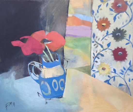 Poppies in a Blue Jug