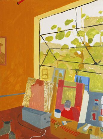 Sophie Treppendahl, Gold Studio Window, 2020, oil on canvas, 48 x 36 inches