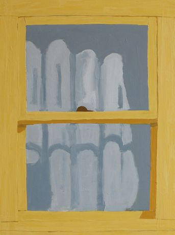 Sophie Treppendahl, Yellow Window in Corsicana, 2020, oil on canvas, 24 x 18 inches