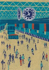 11.40 at Waterloo: linocut print by Jennie Ing
